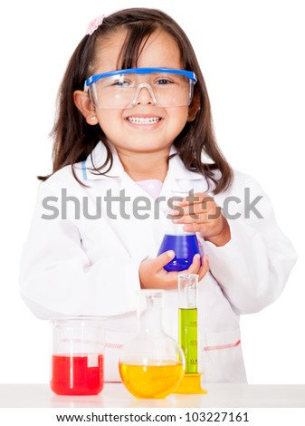 Girl doing chemical experiments at the lab - isolated over white - stock photo