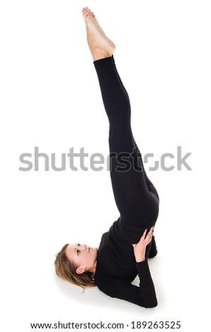 girl doing exercises isolated - stock photo