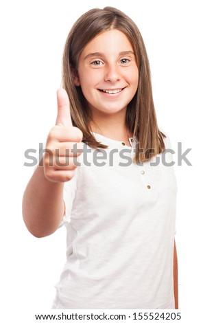 girl doing ok symbol on a white background - stock photo