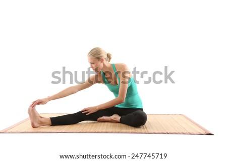 girl doing yoga - stock photo