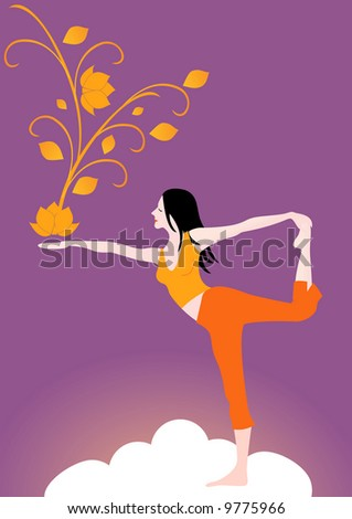 Girl doing yoga on the clouds. - stock photo