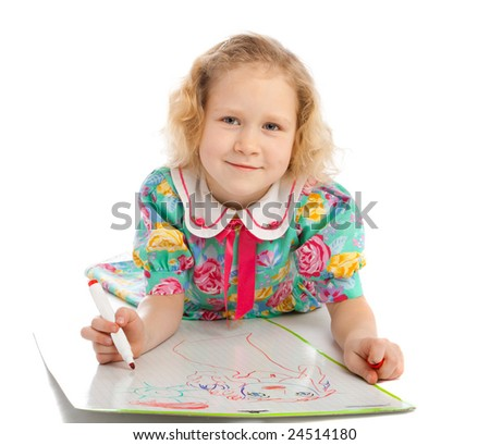 Girl drawing images on whiteboard