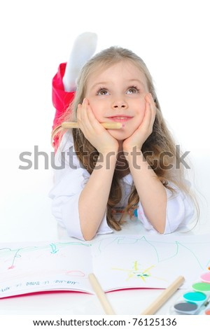 Girl dreams. Isolated on white background - stock photo