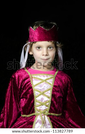 girl dressed as princess with wicked celebrate Halloween - stock photo