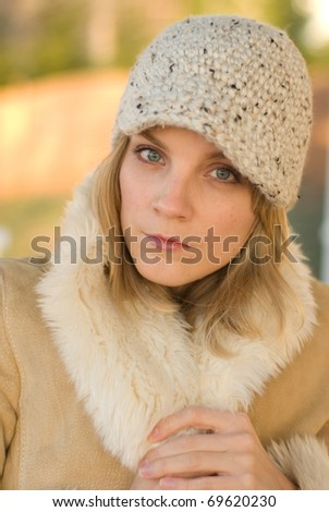 Girl dressed for winter - stock photo