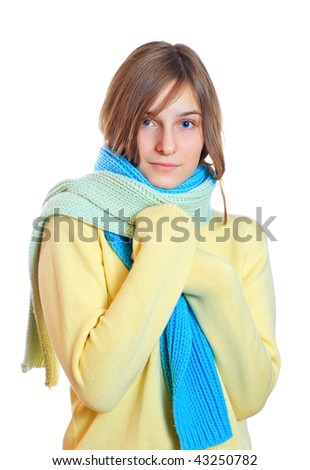 girl dressed in a sweater. Studio shot - stock photo
