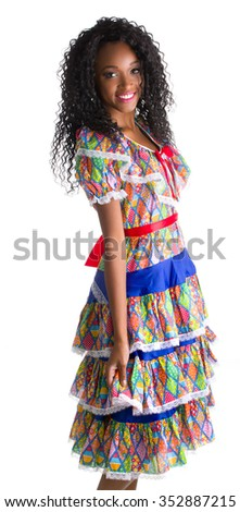 Girl dressed in traditional Brazilian Jerk.