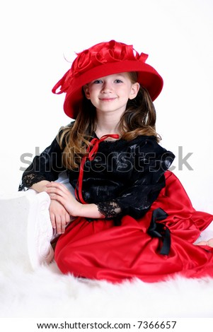 Girl Dressed Up in Red and Black