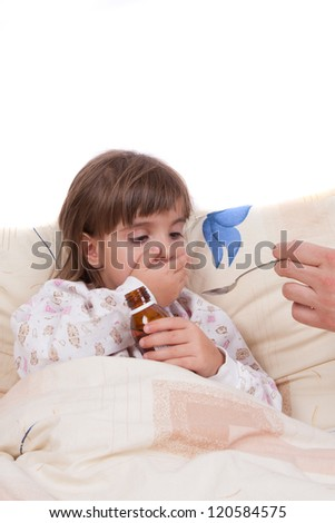 Girl drinking a cure - stock photo