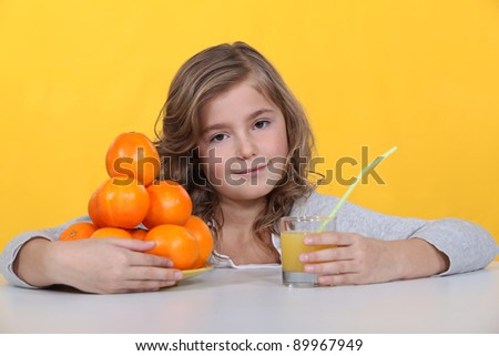 girl drinking fresh orange juice