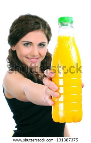 girl drinking juice - stock photo