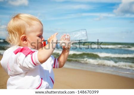 girl drinking water - stock photo