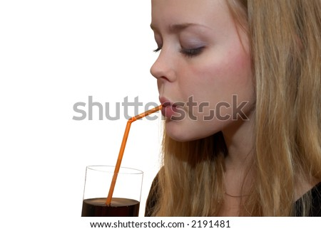 girl drinks from a glass