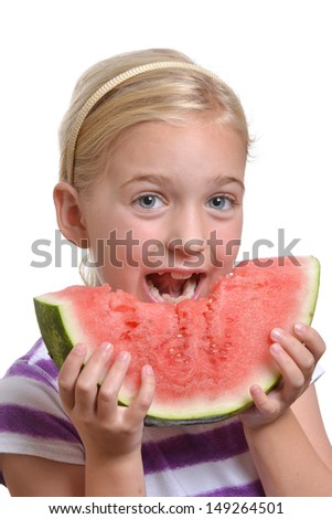 girl eating a watermelon white background - stock photo