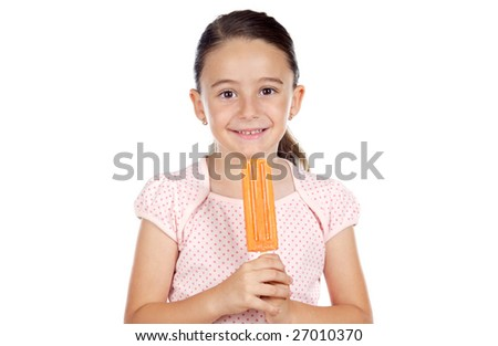 Girl eating an ice cream a over white background - stock photo
