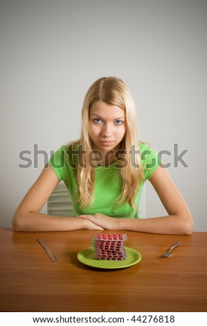 girl eating drugs - stock photo