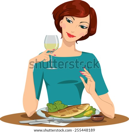 girl eating fish and drinking wine - stock photo