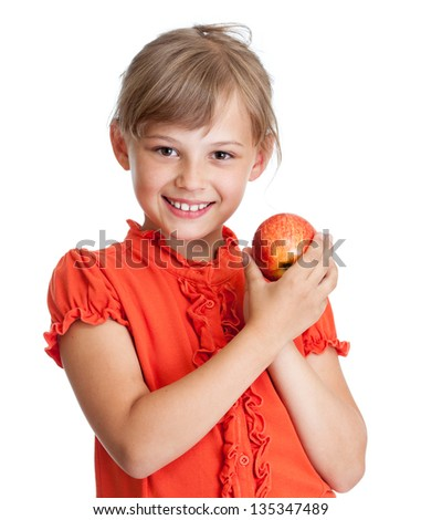 girl eating red apple isolated - stock photo