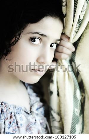 Girl emotional face - stock photo