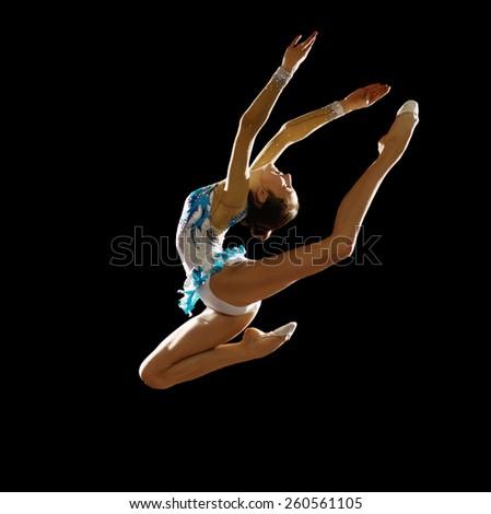Girl engaged art gymnastic isolated - stock photo