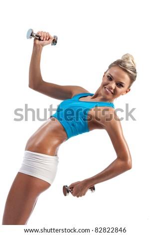 girl engaged in fitness dumbbell - stock photo