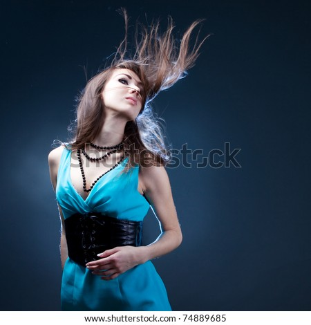 girl enjoys music - stock photo