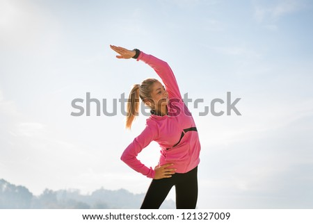 girl exercise on the morning mist - stock photo