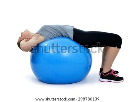 Girl exercising workout fitness aerobic on ball exercise abdominal push ups posture  - stock photo