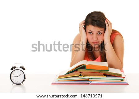 Girl exhausted from studying - stock photo