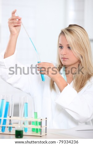 Girl experimenting - stock photo