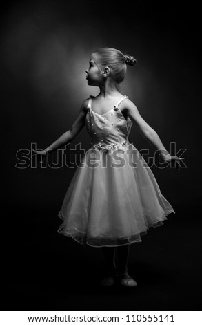 girl express her feelings over dance/Black and White image of dancer - stock photo