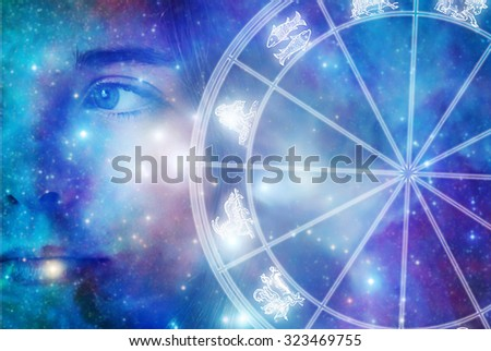girl face and an astrological chart with zodiac signs - stock photo