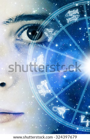 girl face and astrology chart with zodiac signs - stock photo