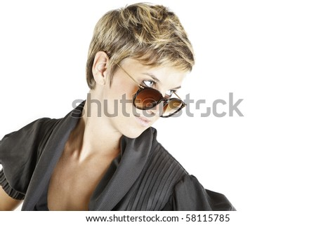 girl fashion portrait with sunglasses - stock photo