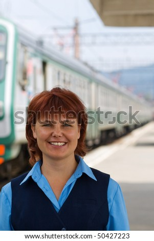 Girl-female attendant in uniform. Railway. - stock photo