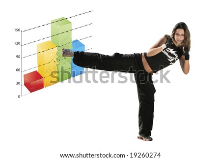 girl fighting a graph in a white background - stock photo