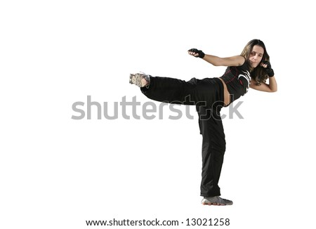 girl fighting in a white background - stock photo