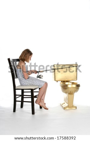 girl fishing in a golden toilet
