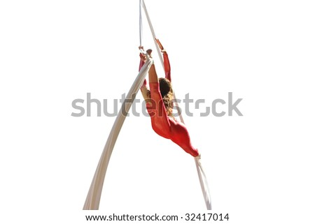 girl fly on ropes during street performing - stock photo