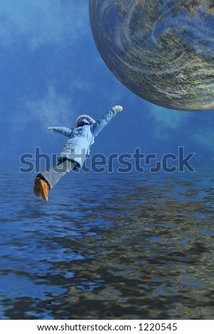 Girl flying to a planet - stock photo