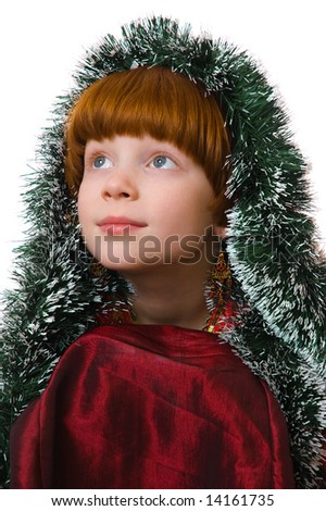 girl framed with green garland - stock photo