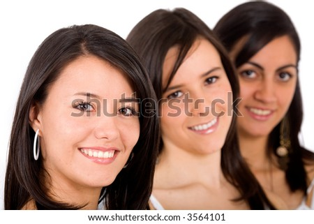 girl friends faces smiling - isolated over a white background
