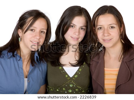 girl friends smiling over a white background