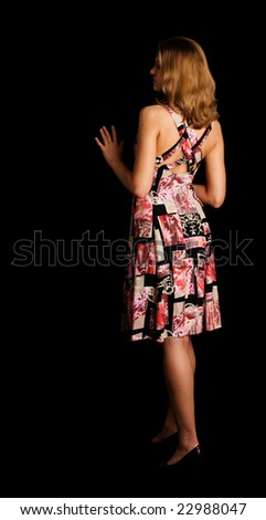 Girl from behind in summer dress - stock photo