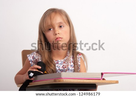 Girl Frustrated, Upset Girl, With Learning Problem - stock photo