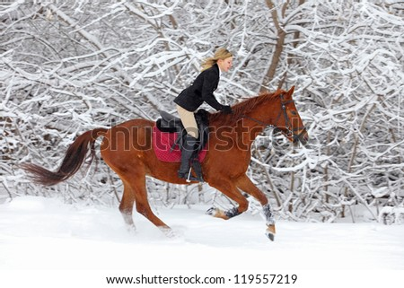 Girl galloping on horse in snowing woods - stock photo