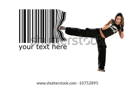 girl give a kick on the barcode - stock photo