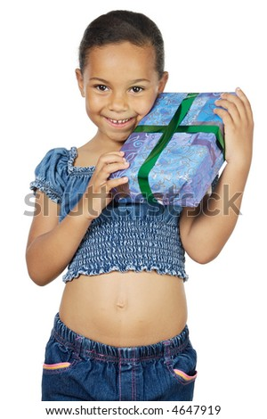 girl giving a gift a over white background - stock photo