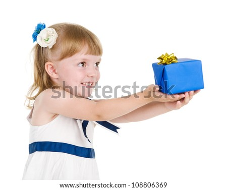 girl giving a present. isolated over white background - stock photo