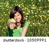 girl giving bunch flowers - stock photo